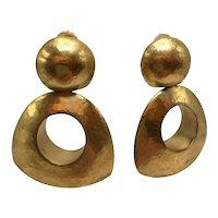 Steven Vaubel 18K Gold Vermeil Chunky Clip-On Door Knocker Dangle Earrings