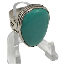 Large Vintage Native American Asymmetrical Turquoise and Sterling Ring