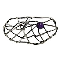 """Abstract Sterling """"Spider Web"""" Brooch With Amethyst Cabochon"""
