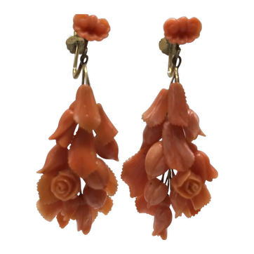 Hand Cut and Hand Carved Coral Victorian Floral Screw-Back Dangle Earrings
