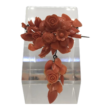 Victorian Italian Carved Floral Coral Brooch with Moving Drop
