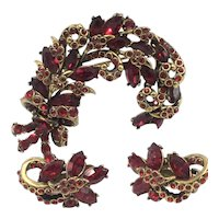 Vintage Hollycraft 1952 Red Plume Brooch and Matching Clip-on Earrings Set