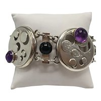 Sterling and Amethyst Cabochon Abstract Watch Components Link Bracelet