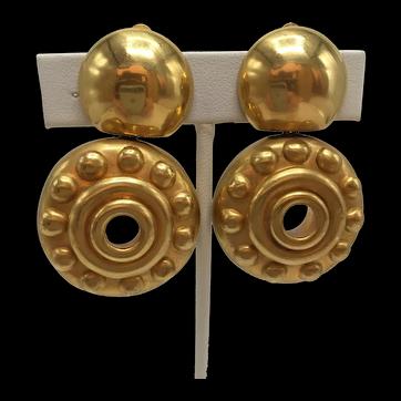 1997 Steven Vaubel Yellow Gold Vermeil Drop Earrings