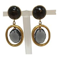Steven Vaubel Clip-on Dangle Earrings with Multi-Faceted Stone