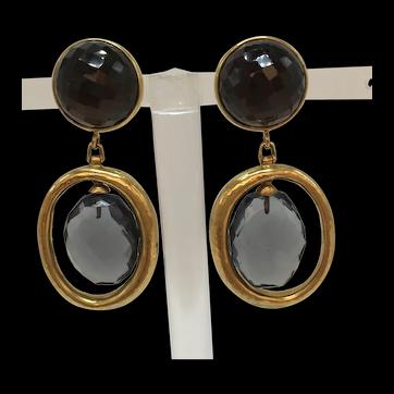 Steven Vaubel Clip-on Dangle Earrings with Multi-Faceted Stone
