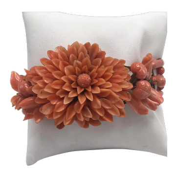 Victorian Italian Carved Coral Link Bracelet With Chrysanthemum Flower Design