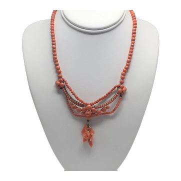 Victorian Beaded Necklace of Mediterranean Coral with Carved Focal Point and Drop