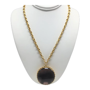 Steven Vaubel 14K Gold Plated Necklace with Amethyst Glass Pendant