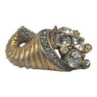 Small Gold Tone and Rhinestone Cornucopia Brooch
