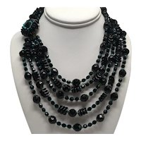 Hattie Carnegie Five Strand Black and Turquoise Glass Bead Necklace