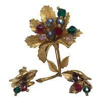 Three-Piece Gold-Color Coro Pin and Earrings Set with Green/Red/Clear Stones