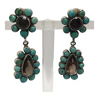 Vintage Turquoise Color and Smokey Quartz Clip-on Dangle Earrings