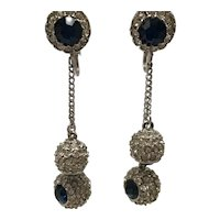 Faux Sapphire and Diamond-Look Dangling Ball Clip-On Earrings