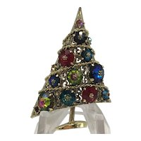 Vintage Weiss Christmas Tree Pin with Intense Rivoli Rhinestone Colors