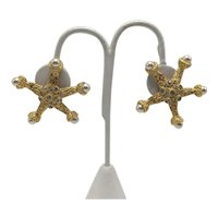 Gene Verrecchio CRAFT Vintage Gold-Tone and Faux Pearl Starfish Clip-on Earrings