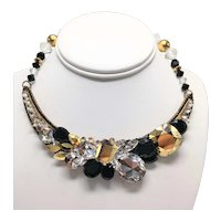 Vintage Wendy Gell Glitzy Choker Necklace in Clear, Gold, and Black