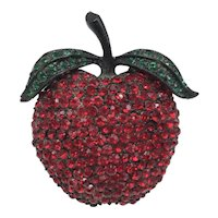 Weiss 1950s Apple Pin Pavé Style Red Rhinestones on Black Japanned Back