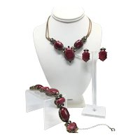 1950s Selro & Selini Demi-Parure Necklace, Bracelet, and Earrings