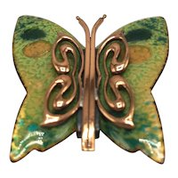 Matisse Copper and Enamel 1950s Butterfly Brooch