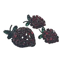 Intensely Red Strawberry Japanned Pin and Earrings Set by Warner