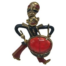 Late 1930s Drummer Boy Brooch With Jelly Belly Drum