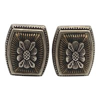 Stephen Dweck Bronze and Sterling Floral and Cable Clip-on Earrings
