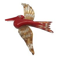 1940s Red, Clear, And Reverse Painted Lucite Bird-in-Flight Brooch