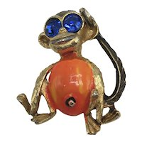 Bright Blue and Orange Monkey with Belly-Button Pin