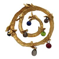 Kate Hines Hammered Gold-look Spiral Brooch with Colorful Hanging Beads
