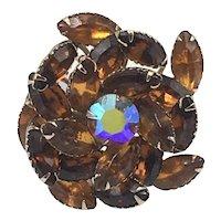 D&E Juliana Topaz-Color Brooch with Aurora Borealis Center Stone