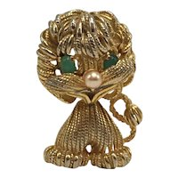 Castlecliff Lion Pin with Green Eyes and Faux Pearl Nose