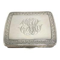 800 Silver Italian Art Nouveau Box with Crisp Engraving