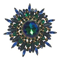 High Domed Juliana DeLizza & Elster ( D&E) Brooch in Green and Blue Tones with Openwork