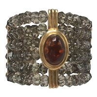 Sterling Vermeil Beaded Stretch Bracelet with Six Rows of Smoky Taupe Stones