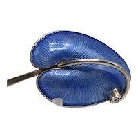 Volmer Bahner Denmark Blue Guilloche Sterling Leaf Pin