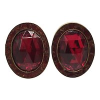 Celia Sebiri Modernist Red Clip-on Earrings with Crushed Stone Inlay