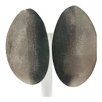 Large Oval Fingerprint Clip-on Earrings in Silver and Black