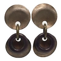 Vintage Kate Hines Copper and Brass Abstract Dangle Clip-on Earrings