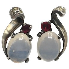 1940s Crown Trifari Moonstone-Look Jelly Belly Sterling Earrings