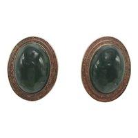 Celia Sebiri Modernist 1970s Green and Red Crushed Stone Mosaic Clip Earrings