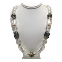 Italian Frosted and Clear Lucite® Designer Necklace