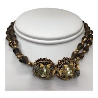 Unsigned Miriam Haskell Choker with Double Floral Bead and Stone Center