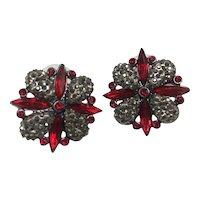 Vintage Red Rhinestones and Marcasite Earrings