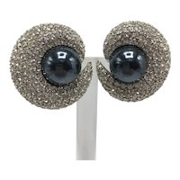 """Ciner Pavé Rhinestone """"Planetary"""" Earrings with Large Hematite-Look Cabochon Center"""