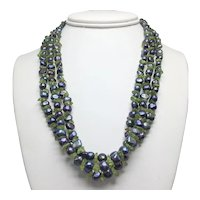 Freshwater Peacock Pearl and Peridot Three-strand Necklace