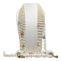 Extra Long Faux-Pearl and Faux Gemstone Five-Strand Necklace