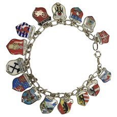 Souvenir Travel Shield Charm Bracelet with 15 German Cities and More