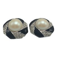 Givenchy Earrings with Large Faux Pearl Center, Black Enamel, and Rhinestones