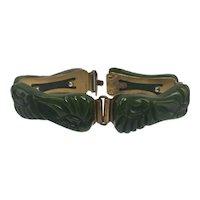 Carved Spinach-Green Bakelite Link Bracelet with Metal Back